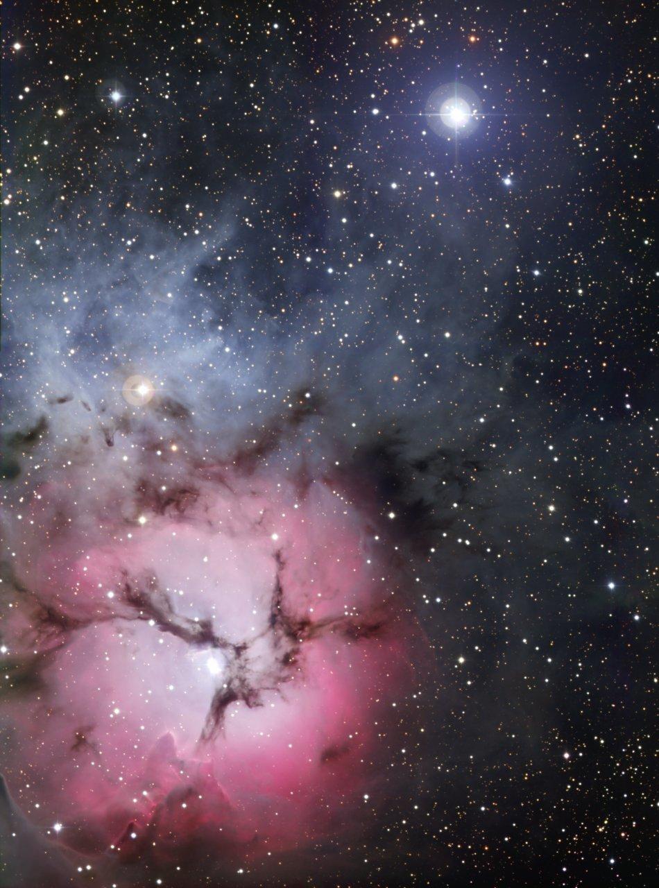 2 Астрономы запечатлели Трехраздельную туманность