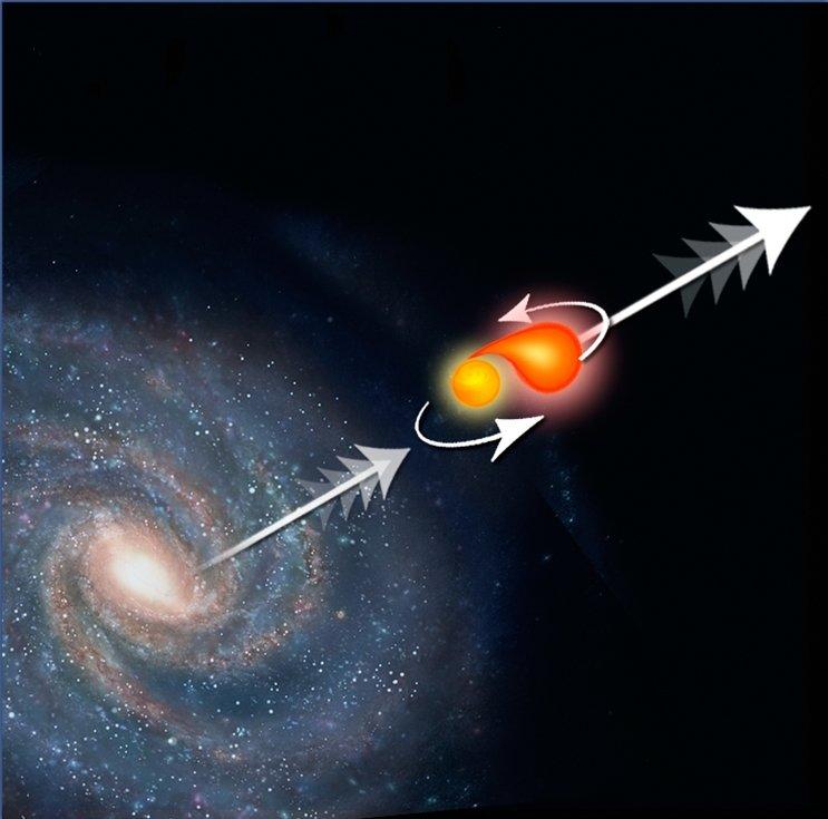 470396main_i1019a1 Звезда, что покинула пределы Млечного пути 100 млн. лет назад, будет вечно бороздить межгалактическое пространство