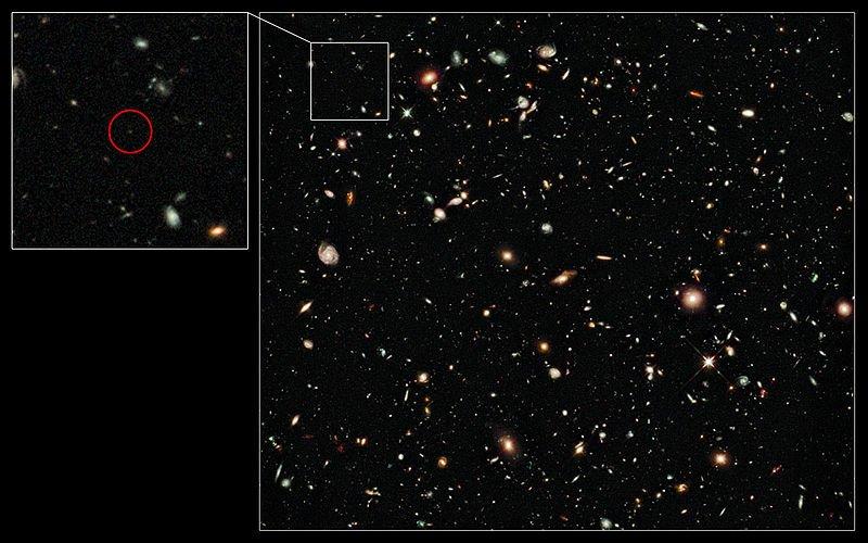 800px-UDFy-38135539 Была найдена галактика, являющаяся самой древней из всех обнаруженных