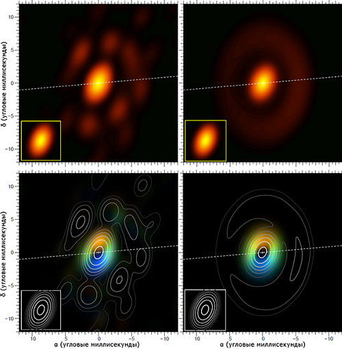 результаты-наблюдения-по-новой-методике-слева1 Ученые изучили необычную звезду-сверхгигант, окруженную кольцом газа и пыли