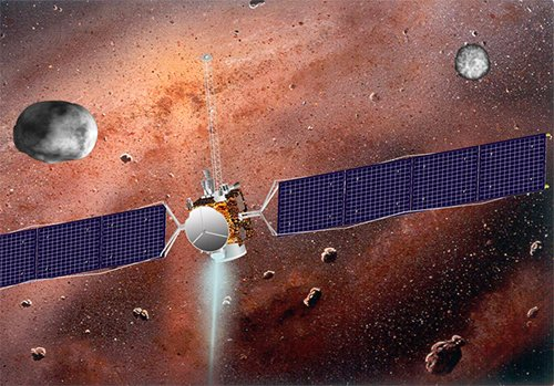 Ceres_Vesta Зонд Dawn путешествует возле Весты