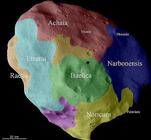 Rosetta_Lutetia_surface-regions Ученые продолжают обрабатывать полученные данные об астероиде Лютеция